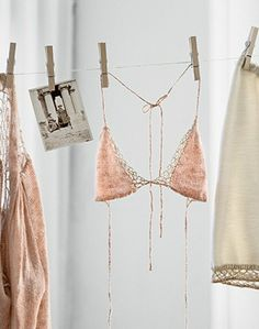 Sweet delicates artfully arranged on a clothesline...yes, please! This will add a little art to our shoot.