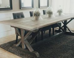 Black And Espresso Farmhouse Reclaimed Wood Plank Style Dining Room Table