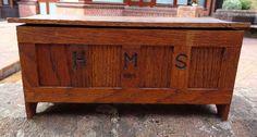 Antique Miniature Panelled Oak Coffer Chest Apprentice Piece Box HMS 1917 | eBay
