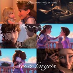 Rapunzel and Hiccup with their moms hug moment. Both very touching :') Tangled and HTTYD2 parallels?