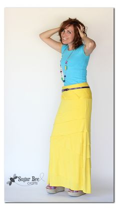 """Maxi Skirt Refashion - - follow the link to see the pictures of """"before"""" - this used to be a dress that I refashioned into a skirt"""