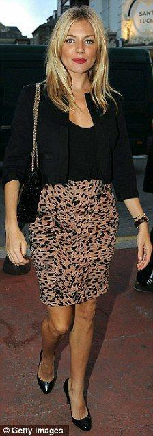 Sienna Miller in an animal-print skirt, black blazer and heels