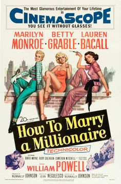 """How to Marry a Millionaire (20th Century Fox, 1953). One Sheet (27"""" X 41"""").  Crafty trio Betty Grable, Marilyn Monroe and Lauren Bacall plot to find wealthy men to marry, but find true love instead in this witty comedy. William Powell plays one of the rich men the girls set their sights on, although he's not really done justice on the one sheet offered here. Rightly so, the lovely leading ladies are given their due on the poster, with Monroe flashing her gams, perched between Grable and…"""