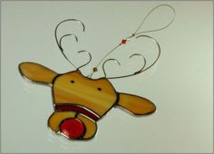 stained glass christmas ornaments | Stained glass reindeer christmas ornament