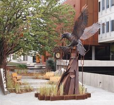 Metal sculpture at NewActon Canberra 'Time thief'