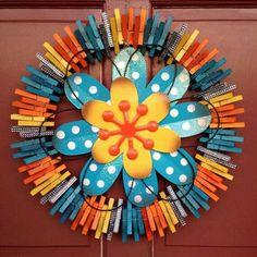 Blue Spring Flower by ThreeDogWreaths on Etsy Wreath Crafts, Diy Wreath, Wreath Ideas, Summer Crafts, Diy And Crafts, Blue Spring Flowers, Clothespin Art, Clothes Pin Wreath, Crafty Craft