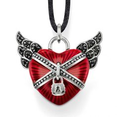 Winged heart pendant with black syn. zirconia and translucent red enamel by Thomas Sabo
