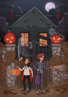 I wanted to do a little Halloween image but I couldn't decide whether I wanted to draw jack-o-lanterns or kids in costumes or a haunted house or ghosts… so I did all the things. Anyway, I hope everyone has a very happy Halloween! Halloween Illustration, Halloween Drawings, Halloween Prints, Halloween Pictures, Halloween Season, Halloween Projects, Holidays Halloween, Scary Halloween, Vintage Halloween