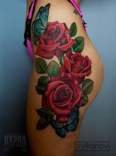 Rose tattoos are intended for both women and men. It can be done with watercolor tattoos. Many times, a tattoo with a rose is known as a sign of unattainable beauty. A rose tattoo is among the most prevalent patterns… Continue Reading → Hip Thigh Tattoos, Rose Tattoo Thigh, Hip Tattoos Women, Flower Thigh Tattoos, Dope Tattoos, Body Art Tattoos, Rose Sleeve Tattoos, Butterfly Thigh Tattoo, Tattos