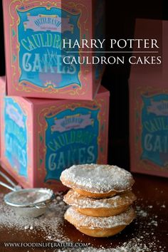 Cauldron Cakes   Harry Potter Series - www.FoodinLiterature.com   I have always had questions around 'cauldron cakes'. The book tells us they're stackable, and they've been manufactured since the 1850s (so, older recipe) by Qizilbash Quality Confectionary who mass produces them in Pakistan. Does this make them Middle Eastern cakes or English cakes that are manufactured in Pakistan? This version is Middle Eastern inspired and so delicious!
