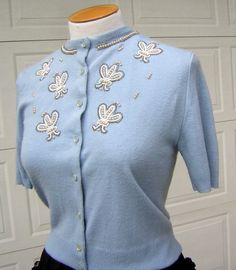 6c408fe80b5 RESERVED for Kinora2 - Vintage late 50s Beaded Cardigan Sweater - BABY BLUE  - Pearls and Goodies - S M - Adorably Sweet