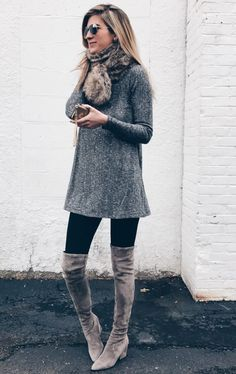 Grey boots outfit, winter boots outfits, dress with boots, casual winter ou Winter Dress Outfits, Winter Outfits Women, Casual Winter Outfits, Winter Fashion Outfits, Dress Winter, Outfit Winter, Winter Boots, Dress Fashion, Fashion Fashion
