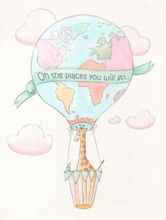 Giraffe - Travel Nursery - Hot Air Balloon Poster By Debbie Cerone