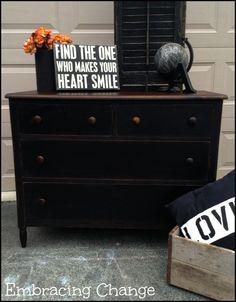 Rustic Black Dresser - Embracing Change  Miss Mustard Seed Milk Paint in Typewriter and Hemp Oil D. Lawless Hardware Minwax Dark Walnut Stain