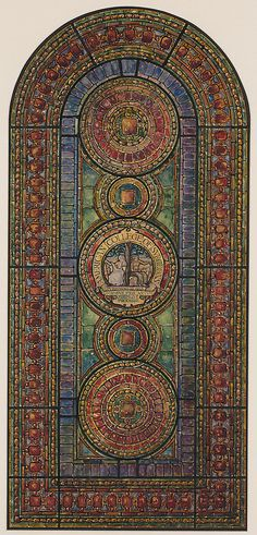 Design for medallion window for the American College of Surgeons, Chicago. Louis Comfort Tiffany, 1923