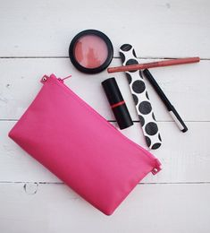 Bright pink bag Genuine Leather pouch Gift for her Pink Makeup Bag, Bright Makeup, Colorful Makeup, Leather Gifts, Leather Pouch, Pink Leather, Makeup Routine, Zipper Pouch, Bright Pink