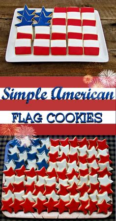Memorial Day Flag Cookie Platter Simple-Flag-Cookie-Platter-via- Patriotic Desserts, 4th Of July Desserts, Fourth Of July Food, 4th Of July Celebration, Patriotic Party, 4th Of July Party, July 4th, Patriotic Crafts, Patriotic Sugar Cookies