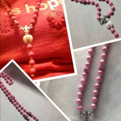 Breast Cancer Survivor Rosary Necklace Handmade with pink stones for breast cancer! Jewelry Necklaces