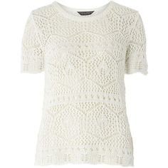 Dorothy Perkins Ivory Crochet Tee ($29) ❤ liked on Polyvore featuring tops, t-shirts, white, white top, crochet summer tops, macrame top, ivory crochet top and summer t shirts