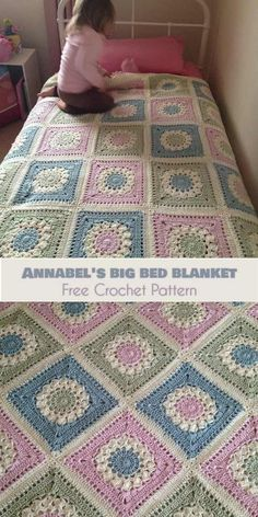 Annabel's Big Bed Blanket [Free Crochet Pattern] This blanket is made of Flower Burst Squares. The whole blanket has 24 big squares, 6 down. Of course you can easily adjust the Granny Square Crochet Pattern, Afghan Crochet Patterns, Crochet Squares, Crochet Granny, Free Crochet, Granny Squares, Crochet Afghans, Granny Square Afghan, Quick Crochet