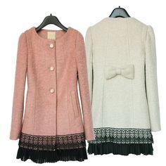 Badge Coat Chiffon Lace Hem Wool Overcoat Windbreaker