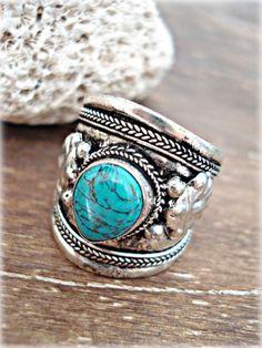 Boho Ring - Boho Jewelry - Turquoise Boho Ring - Nepal Ring - Tibetan Turquoise Ring - Hippie Ring - Tribal Ring