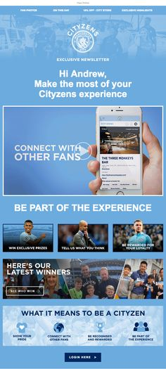 3346f8711f1ff Beautiful email design from Manchester City Welcome Emails