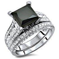 4.0ct Black Princess Cut Diamond Engagement Ring Wedding Band set 18k White Gold