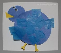 Toddler Craft: Blue Bird.  Very basic craft for young ones 18 months and up.  Wonderful for fine motor skills and shape and color recognition. | Simple.Home.Blessings.