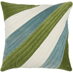 """Rizzy Home T-3772 18"""" Decorative Pillow in Green"""