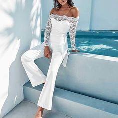 White Elegant Lace Sleeve Eyelash Wide Leg Jumpsuit Pantsuit Romper Women Clothes For Cheap, Collections, Styles Perfectly Fit You, Never Miss It! Jumpsuit Outfit Dressy, White Jumpsuit Formal, Elegant Jumpsuit, Prom Jumpsuit, White Lace Jumpsuit, Ladies Jumpsuit, White Pantsuit, Summer Jumpsuit, Satin Jumpsuit