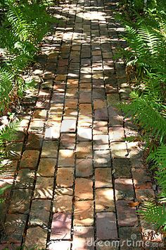 Photo about A brick path into the woods. Image of bricks, garden, pavers – Photo about A brick path into the woods. Image of bricks, garden, pavers – 309972 READ Like the double border. Garden Pavers, Brick Garden, Garden Steps, Garden Path, Brick Pathway, Brick Paving, Brick Steps, Landscape Design, Garden Design