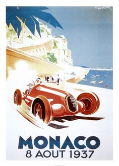 Monaco Grand Prix. Vintage Travel Poster