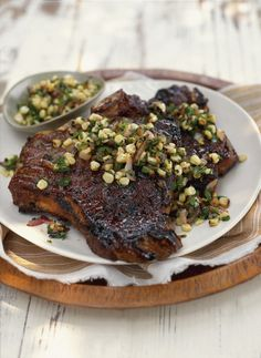 Grilled Steak with Onion and Corn Salsa
