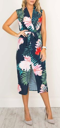 Tropical Dream Dress in Navy Floral