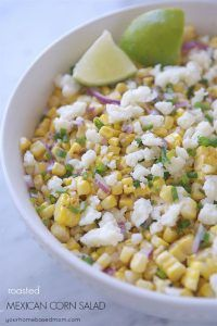 All the flavors of delicious Mexican Street Corn in this Roasted Mexican Corn Salad -and easier to eat!