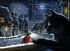 Black Cat Print Silent Night by Irina Garmashova Black Cat Art, Black Cats, Winter Cat, Painting Snow, Cat Boarding, Cross Paintings, Silent Night, Christmas Cats, Art Plastique