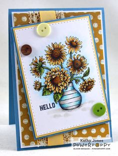 Inspired to Stamp: Power Poppy Release Hop! In Praise of Sunflowers stamp set.