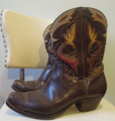 Acme Cowboy Boots, 1940s, multicolored inlay