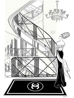 "31 Rue Cambon - Illustration - Canvas Gallery Print - Unframed or Fram – Tiffany La Belle "" 31 Rue Cambon "" illustration was inspired by the staircase designed by Gabrielle 'Coco' Chanel from her first store in Paris where she also worked and entertained.  This famous faceted mirrored spiral staircase connects all four levels of Coco's apartment and made it possible for her to stand in one spot and view her customers reactions to her new collections.  Did you see Coco in the illustration?"