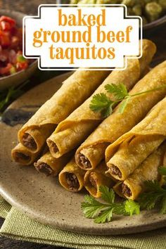 Baked Ground Beef Taquitos - These tasty rolled tacos are filled with spicy ground beef and creamy cheese. Bonus: they are baked instead of fried so they are lighter on calories than the usual restaurant versions. | CDKitchen.com