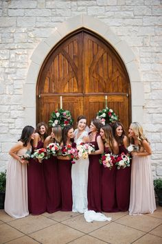 <p>Burgundy and Mauve Bridesmaids</p>