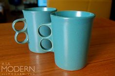 "Bennington Potteries ""Trigger Mug"" in turquoise (Designer: David Gil)"