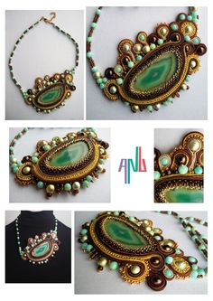Handmade ANU Jewelry,  Soutache Necklace, agate stone, beads