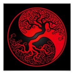 Red and Black Tree of Life Yin Yang Poster