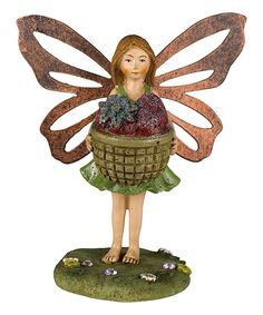 Loving this Mini Strawberry Basket Fairy Figurine on #zulily! #zulilyfinds