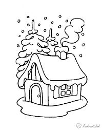 Winter house with cotton Christmas Coloring Sheets, Coloring Sheets For Kids, Printable Coloring Sheets, Coloring Pages Winter, House Colouring Pages, Coloring Books, Christmas Colors, Christmas Crafts, Wood Burning Stencils