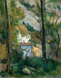 Paul Cézanne - Blick durch Bäume auf ein Haus, Auvers