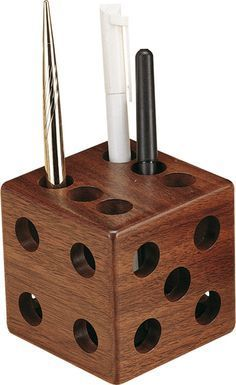 wooden dice pen & pencil holder