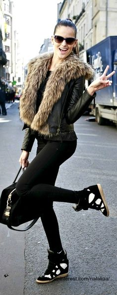 Street style black jeans wedge sneakers leather fur jacket it also has allis signiture photo hand sign :) also very Becky down time glam!!!